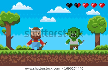 Pixel Game Characters, Viking and Troll Fight Stock photo © robuart