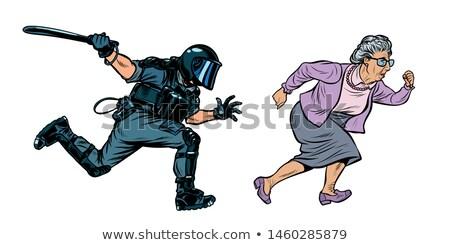 старуху пенсионер беспорядками полиции Поп-арт ретро Сток-фото © studiostoks