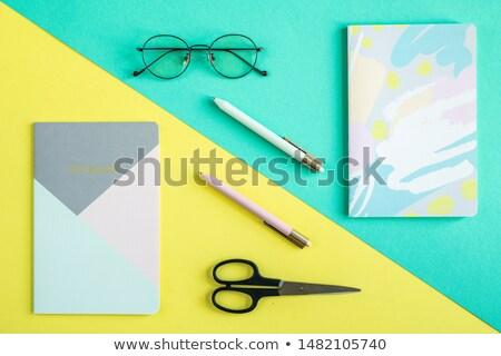 Zwei Stifte Schere blau gelb Stock foto © pressmaster