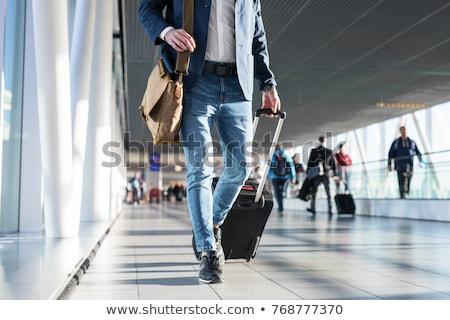 Işadamı bagaj yürüyüş havaalanı meşgul Asya Stok fotoğraf © szefei