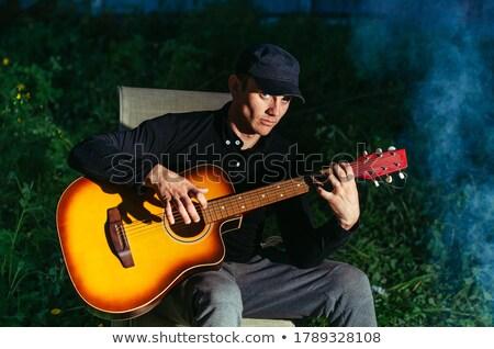 Homme feu de joie chanter guitare jouer vecteur Photo stock © robuart