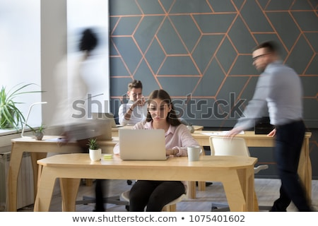 Lány feladat csinos rajzolt feladatok fölött Stock fotó © ra2studio