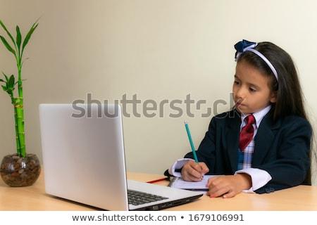 Сток-фото: Cute · девушки · домашнее · задание · ушки · женщину