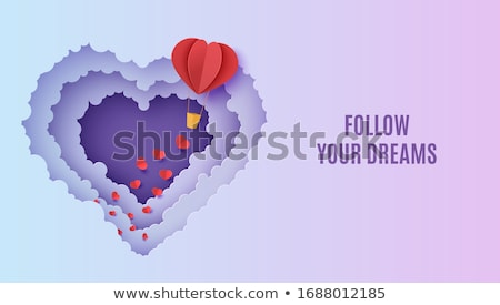 papercut hot air balloon background on night sky stock photo © cienpies