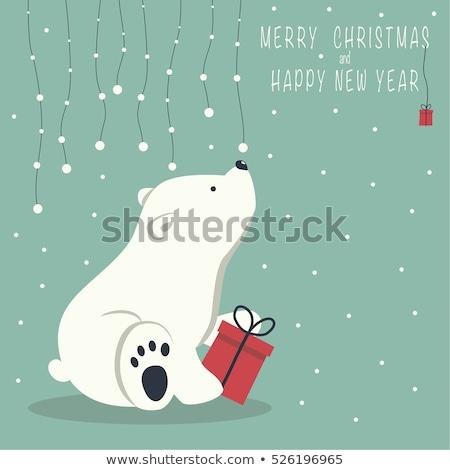 Peu cute ours Noël nouvelle année accueil Photo stock © sgursozlu