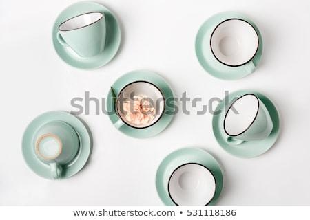 Beyaz sofra takımı ayarlamak boş fincan mavi Stok fotoğraf © Anneleven