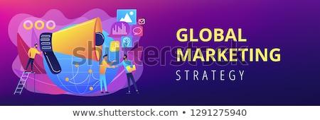 Bannière tête marketing spécialiste haut-parleur influencer Photo stock © RAStudio