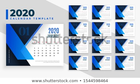 2020 business style calendar template design in blue theme Stock photo © SArts