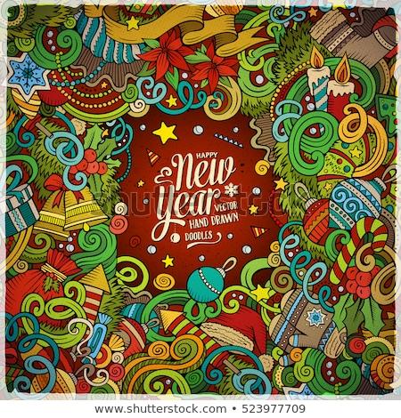 alegre · feliz · ano · novo · cartão · postal · papai · noel · leitura - foto stock © balabolka