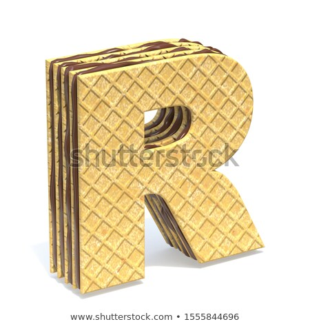Waffles font with chocolate cream filling Letter R 3D Stock photo © djmilic
