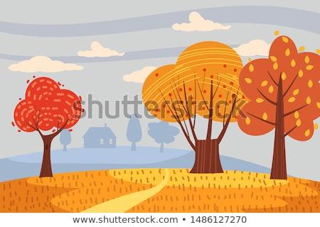 ősz tájkép vektor őszi szezon stílusok virág Stock fotó © frimufilms