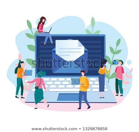 Kadın açılış zarf e-mail bülteni vektör Stok fotoğraf © robuart