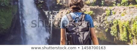 Mann Reisenden Wasserfall Banner lange formatieren Stock foto © galitskaya