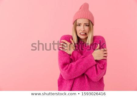 изображение недовольный девушки Hat молодые Сток-фото © deandrobot