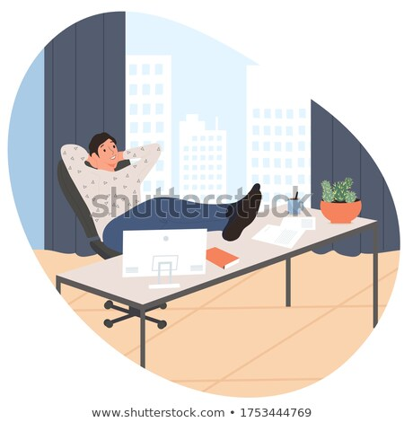 Office work and remote work, freelance. Young man working on computer. Vector illustration in flat s Stock photo © designer_things