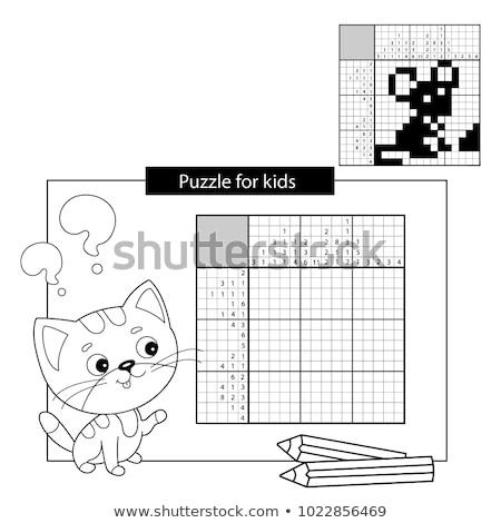 Egér feketefehér japán keresztrejtvény válasz grafikus Stock fotó © natali_brill