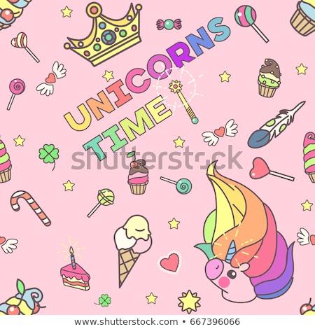 Magical Unicorn Lollipop In Multicolor Stock fotó © VetraKori