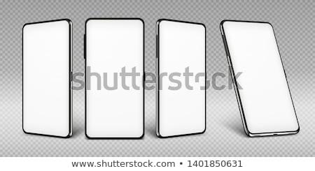 Mobiltelefon kéz tart kinyitott mobiltelefon kék Stock fotó © your_lucky_photo