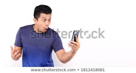 arc · megrémült · kép · férfi · szemek · fej - stock fotó © Harveysart