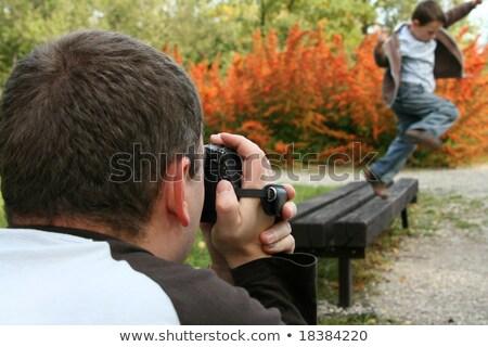 Stock fotó: Fiú · kamera · kéz · arc · film · kék