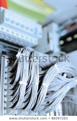 Wires connecting network servers, telephones Stock photo © Balefire9
