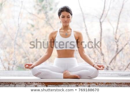 Spor kadın oturma pencere eşiği pencere Stok fotoğraf © pekour