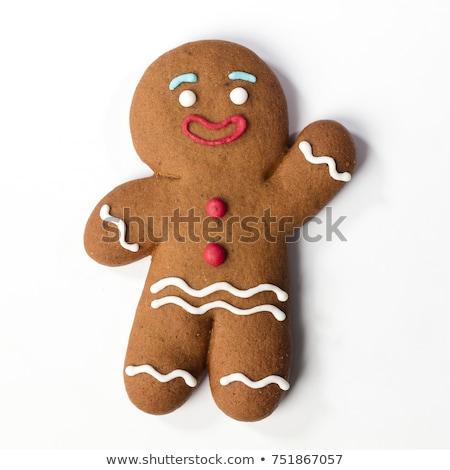 Gingerbread man yalıtılmış mutlu arka plan beyaz Noel Stok fotoğraf © ozaiachin