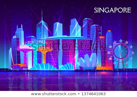 Cartoon Singapore skyline silhouet stad gebouw Stockfoto © blamb