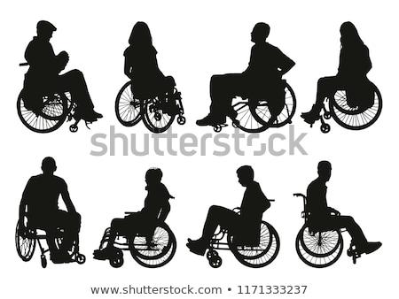 Silla de ruedas silueta aislado blanco médicos hospital Foto stock © lkeskinen