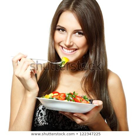 кухне · еды · Салат · улыбаясь · девушки - Сток-фото © rob_stark