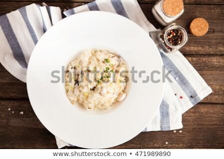 Risotto szparagów mięsa zielone sos biały Zdjęcia stock © ildi