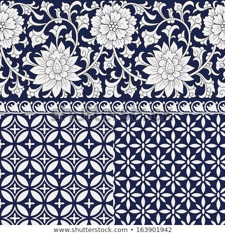 Foto stock: Oriental Chinese Seamless Pattern And Ornate Frame