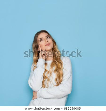 retrato · mujer · pensando · viendo · hasta · blanco - foto stock © CandyboxPhoto