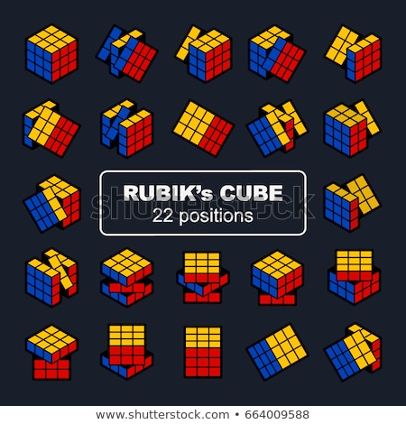 cubo · quebra-cabeça · conjunto · nove · wireframe · preto · e · branco - foto stock © fixer00