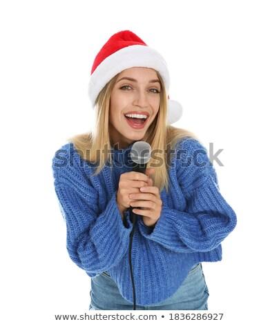 woman with cap singing stock photo © saphira