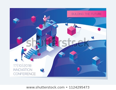 blue cube with person sign on boxes Stock photo © marinini