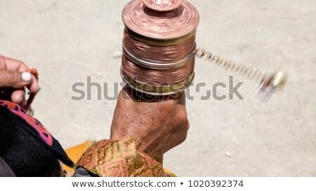 oração · roda · tibete · turva · blue · sky · mão - foto stock © haraldmuc