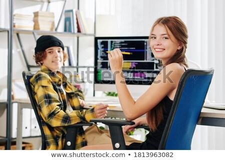 Positief student huiswerk bureau geconcentreerde home Stockfoto © wavebreak_media