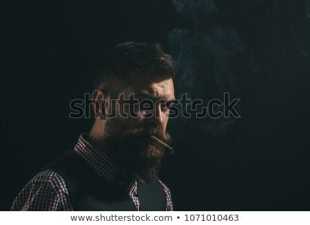 Сток-фото: портрет · молодым · человеком · сигару · изолированный · дым · молодые