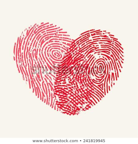 piros · ujjlenyomat · szív · vektor · dizájn · elem · esküvői · meghívó - stock fotó © beaubelle