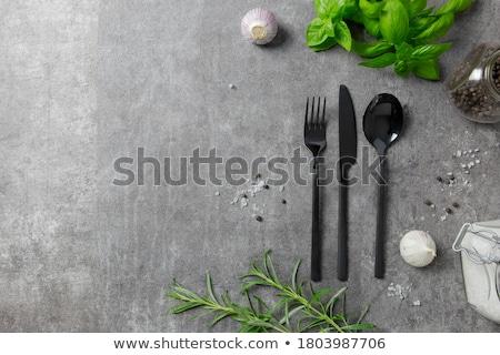 приборы набор вилка ножом ложку белый Сток-фото © kornienko