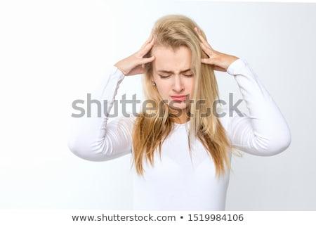 Bella donna mal di testa piedi bianco mani faccia Foto d'archivio © wavebreak_media