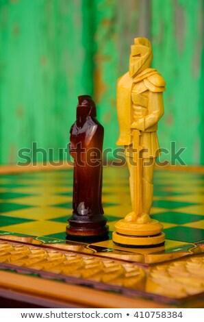 handgemaakt · schaken · schaakbord · berk · kunst - stockfoto © yul30