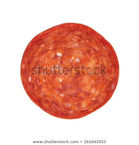Pepperoni rebanadas blanco alimentos salchicha Foto stock © saddako2