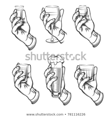 Cartoon Hand - Holding Wine Glass - Vector Illustration stock photo © indiwarm