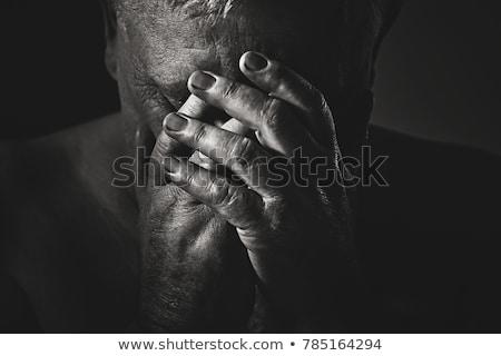 Foto stock: Homem · sofrimento · dor · de · cabeça · branco · cabeça
