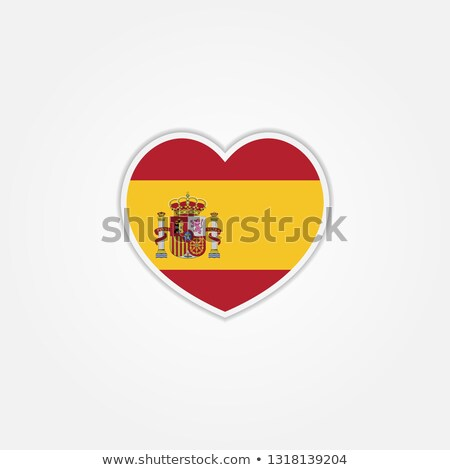 Vector heart with Spain flag texture isolated on a white. Stock photo © SolanD