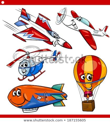 вертолета талисман иллюстрация красный Cartoon самолета Сток-фото © lenm