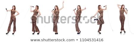 Kadın şarkıcı mikrofon kız parti moda Stok fotoğraf © godfer