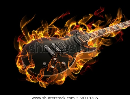 flaming · Rock · guitare · brûlant · noir · feu - photo stock © artjazz